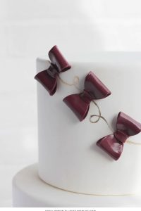 Marsala & Gold Bow Cake |  translating trends into cake designs | by Erica OBrien for TheCakeBlog.com