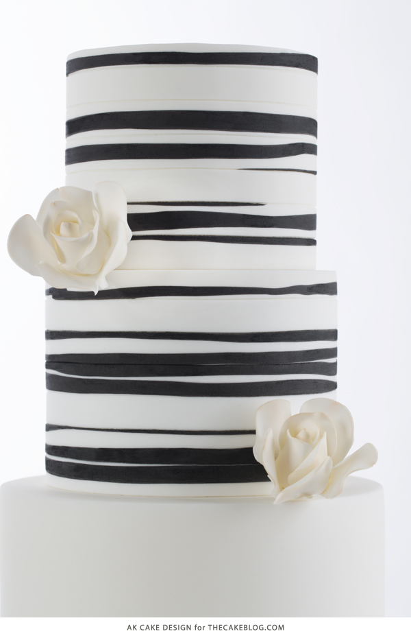 2015 Wedding Cake Trends | including this black & white organic striped cake by AK Cake Design | on TheCakeBlog.com