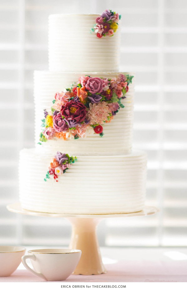 2015 Wedding Cake Trends | Including This Modern Buttercream Flower Cake By  Erica OBrien Cake Design