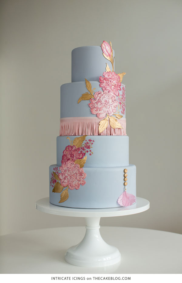 2015 Wedding Cake Trends | including this design by Intricate Icings | on TheCakeBlog.com