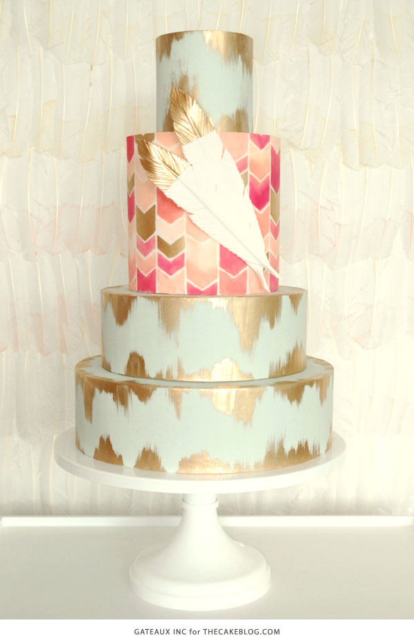 2015 Wedding Cake Trends | including this hand-painted chevron & gold cake by Gateaux Inc. | on TheCakeBlog.com