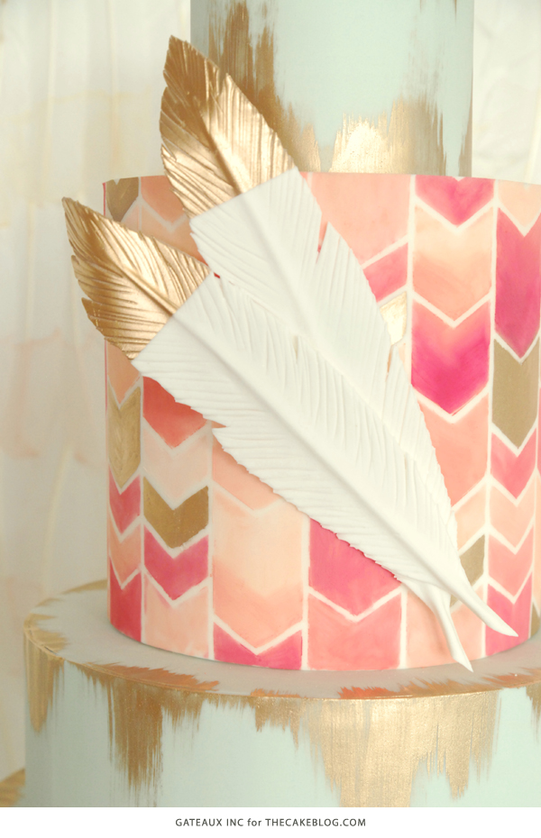 2015 Wedding Cake Trends   including this hand-painted chevron & gold cake by Gateaux Inc.   on TheCakeBlog.com