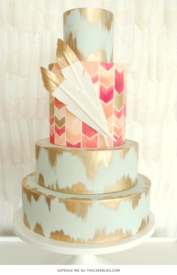 2017 Wedding Cake Trends Including This Hand Painted Chevron Gold By Gateaux