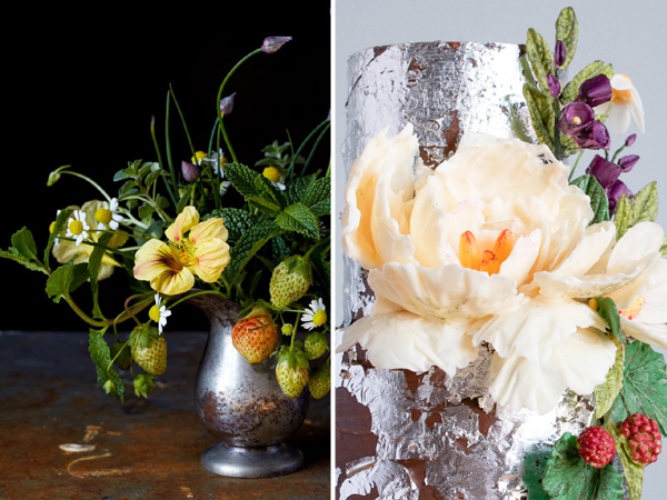 2015 Wedding Cake Trends | Organically styled florals made from chocolate | by Erin Bakes on TheCakeBlog.com