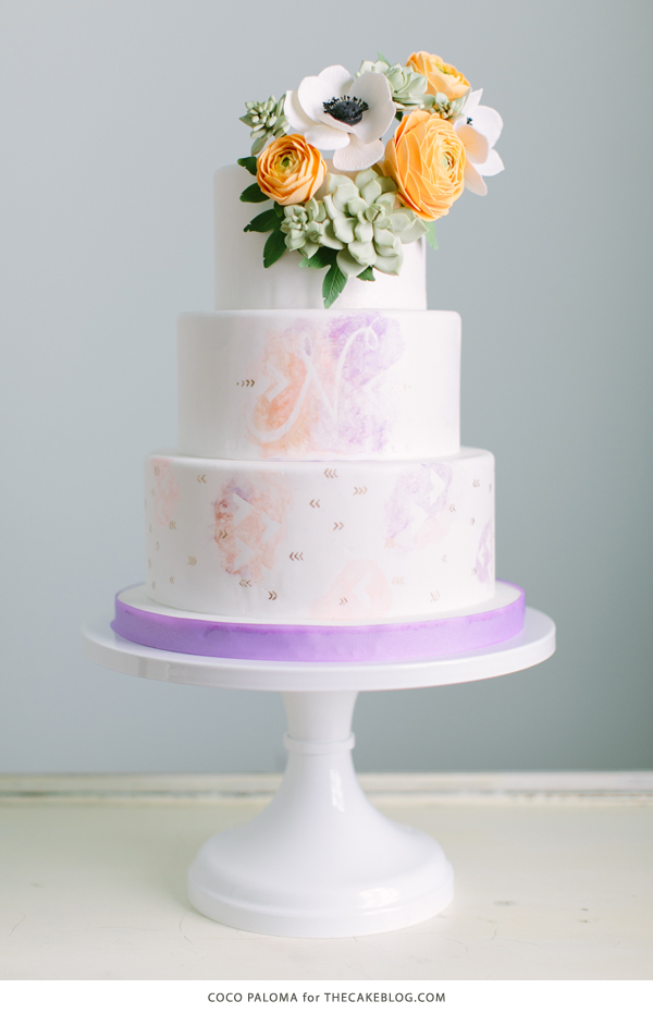 2015 Wedding Cake Trends | Relaxed Bohemian with watercolor and succulents | by Coco Paloma on TheCakeBlog.com
