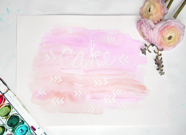 Cake!  | Watercolor masking technique by Coco Paloma on TheCakeBlog.com