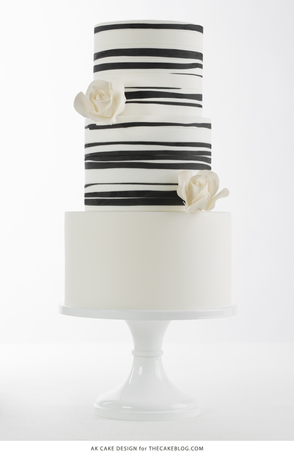 2015 Wedding Cake Trends | including this black & white organic striped cake by AK Cake Design | on TheCakeBlog.com
