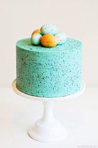 DIY Speckled Robins Egg Cake  | by Carrie Sellman for TheCakeBlog.com