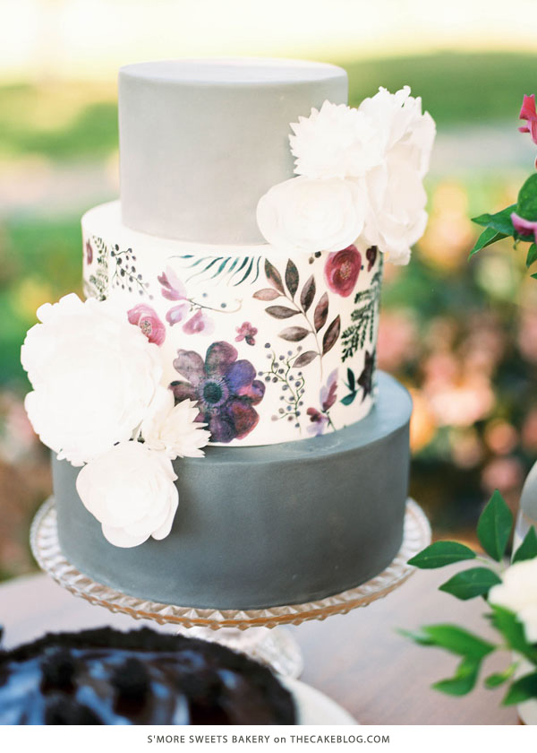 10 Watercolor Cakes | including this design by S'more Sweets Bakery | on TheCakeBlog.com