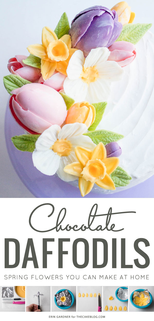 Chocolate Daffodils - how to make a chocolate flower cake, featuring chocolate daffodils | by Erin Gardner for TheCakeBlog.com