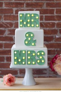 Mr & Mrs Marquee Letters Cake | by Erica OBrien for TheCakeBlog.com