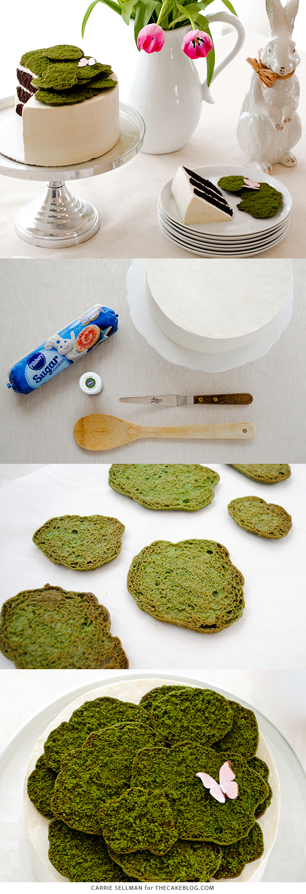 Cookie Moss Cake - how to make edible moss from cookie dough. Top spring and Easter cakes, woodland cakes or a birthday cake for your favorite gardener! | by Carrie Sellman for TheCakeBlog.com