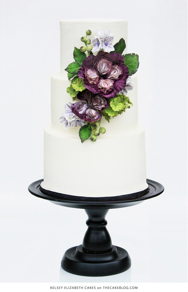 10 Flower Cakes for Spring | including this design by Kelsey Elizabeth Cakes | on TheCakeBlog.com
