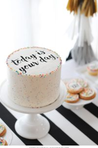 Graduation Party Desserts including this DIY sprinkle cake with easy edible writing | by Carrie Sellman for TheCakeBlog.com
