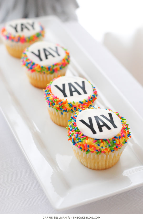 Graduation Party Desserts including these easy YAY sprinkle cupcakes | by Carrie Sellman for TheCakeBlog.com