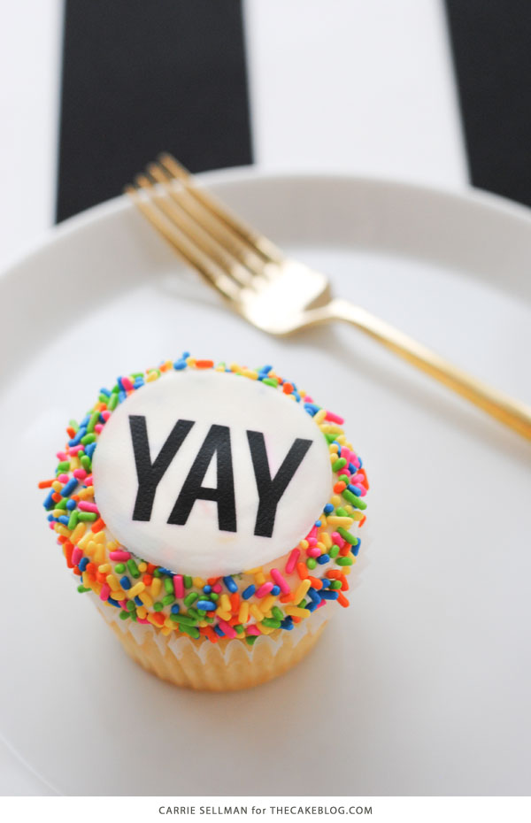 Graduation Party Desserts including this easy YAY sprinkle cupcake | by Carrie Sellman for TheCakeBlog.com