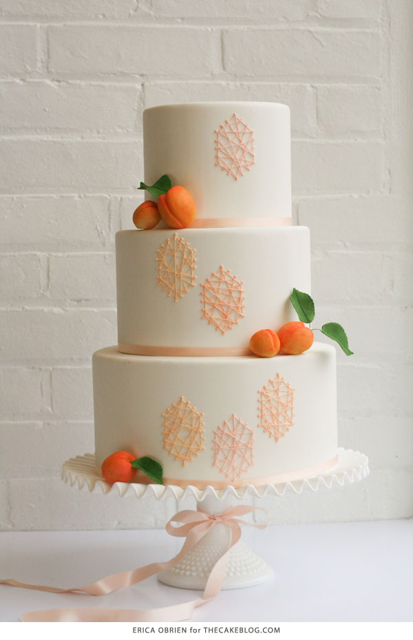 Peach String Art Cake | by Erica OBrien for TheCakeBlog.com