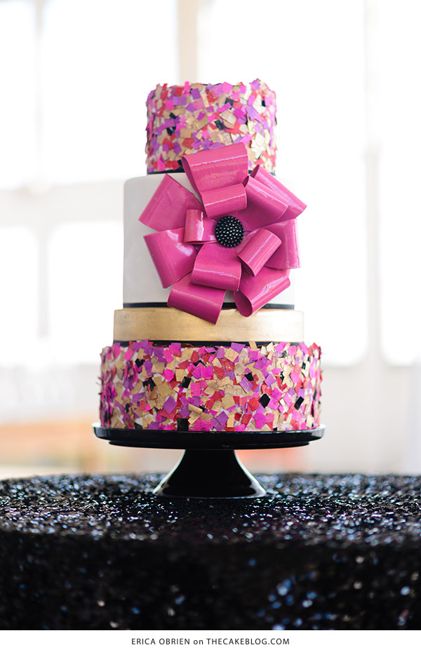 10 Confetti Throwing Cakes | including this design by Erica OBrien | on TheCakeBlog.com