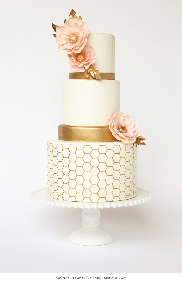 Gold Honeycomb Cake | by Rachael Teufel for TheCakeBlog.com