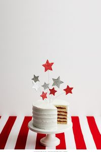 DIY Glittery Star Cake Toppers | Stars & Stripes Cake by Cakegirls for TheCakeBlog.com