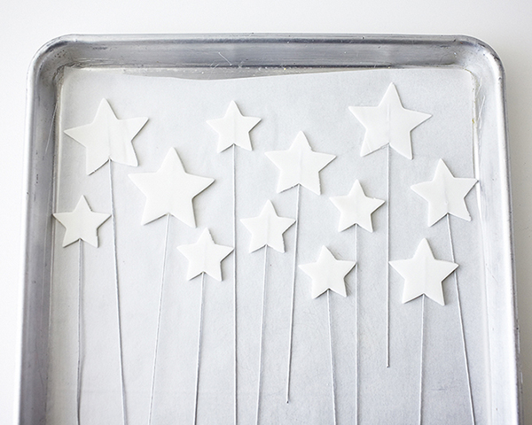 How to make glittery, star shaped cake toppers on wire. An easy cake decoration that can be made in advance | by Cakegirls for TheCakeBlog.com