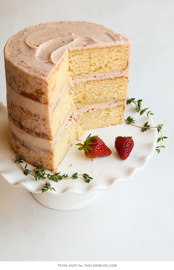 Strawberry Thyme Cake | by Tessa Huff for TheCakeBlog.com