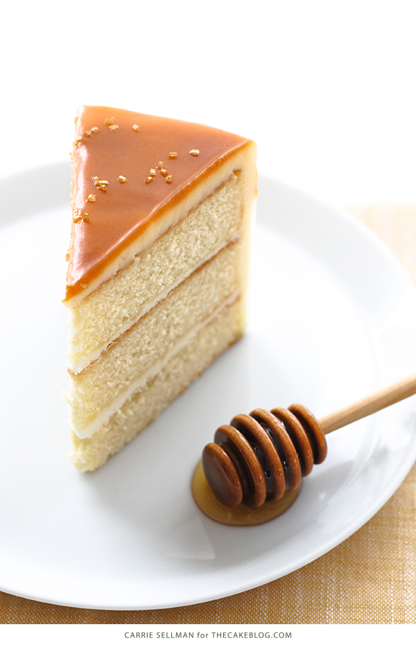 Honey Butter Cake | honey cake with honey cream cheese frosting topped with a honey butterscotch glaze | by Carrie Sellman for TheCakeBlog.com