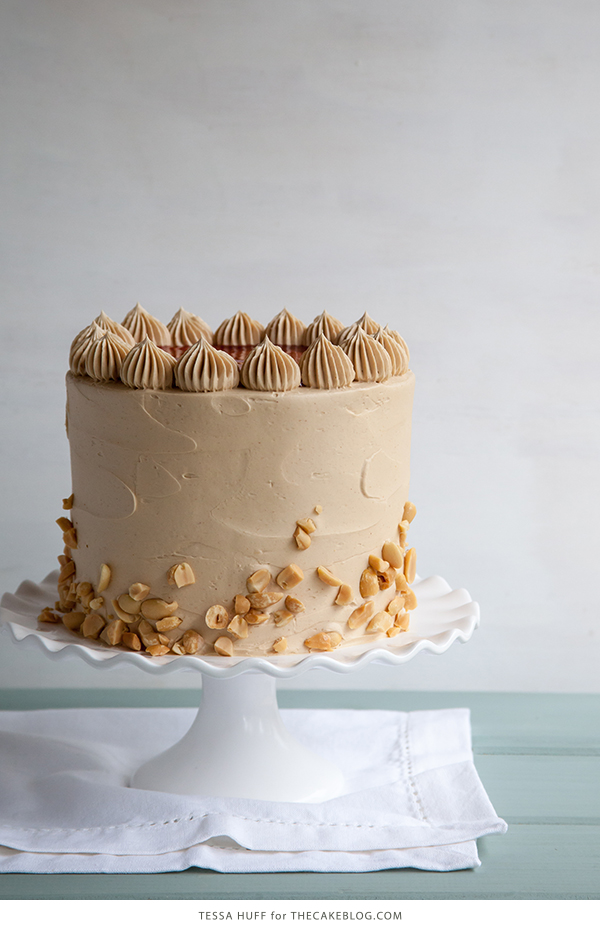 Peanut Butter & Jelly Cake   peanut butter cake with brown sugar peanut butter frosting, strawberry jam and chopped peanuts   by Tessa Huff for TheCakeBlog.com
