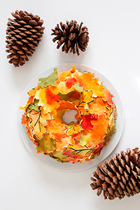 How to make a wreath-shaped cake covered in fall leaves for an Autumn centerpiece | by Miso Bakes for TheCakeBlog.com