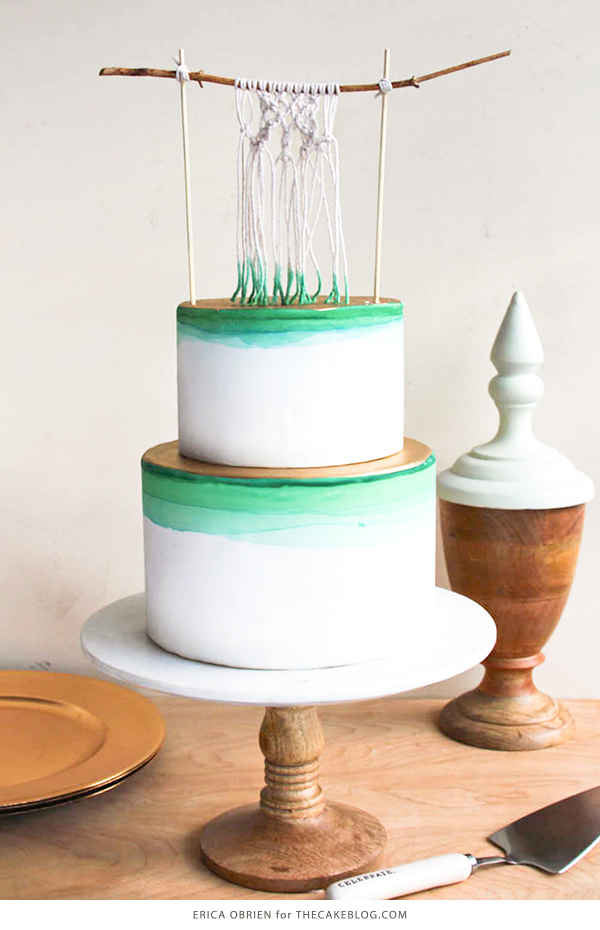Macrame Cake with dip dyed shades of green and gold accents | by Erica OBrien for TheCakeBlog.com