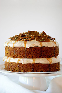 Pumpkin Cake with cinnamon cream cheese frosting and pumpkin seed brittle topping | TheCakeBlog.com