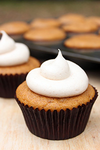 Easy Pumpkin Cupcakes with Cinnamon Cream Cheese Frosting | Lauren Kapeluck for TheCakeBlog.com