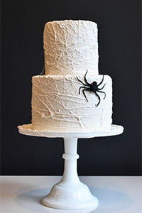 How to Make a Marshmallow Spiderweb Cake for Halloween | by Carrie Sellman for TheCakeBlog.com