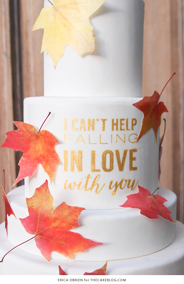 Falling in Love Autumn Wedding Cake | by Erica OBrien for TheCakeBlog.com