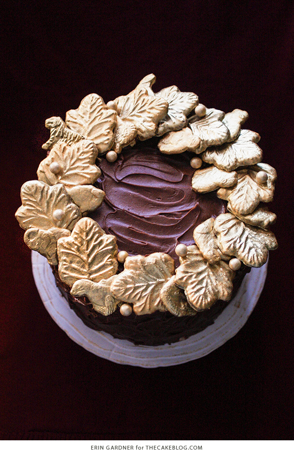 Gilded Cookie Wreath Cake - an elegant Christmas cake made with animal crackers | Erin Gardner for TheCakeBlog.com