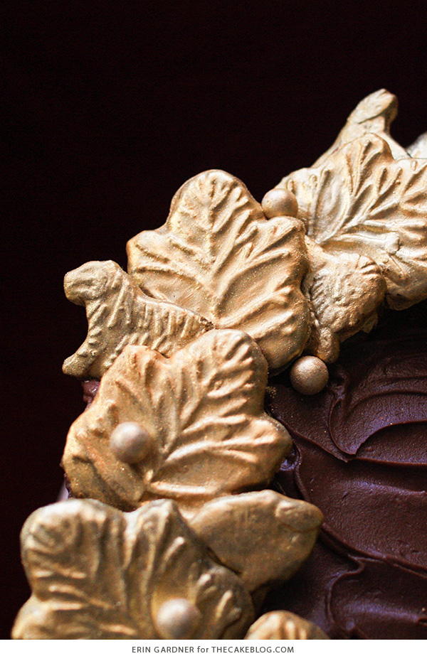 Gilded Cookie Wreath Cake - an elegant Christmas cake made with animal crackers| Erin Gardner for TheCakeBlog.com