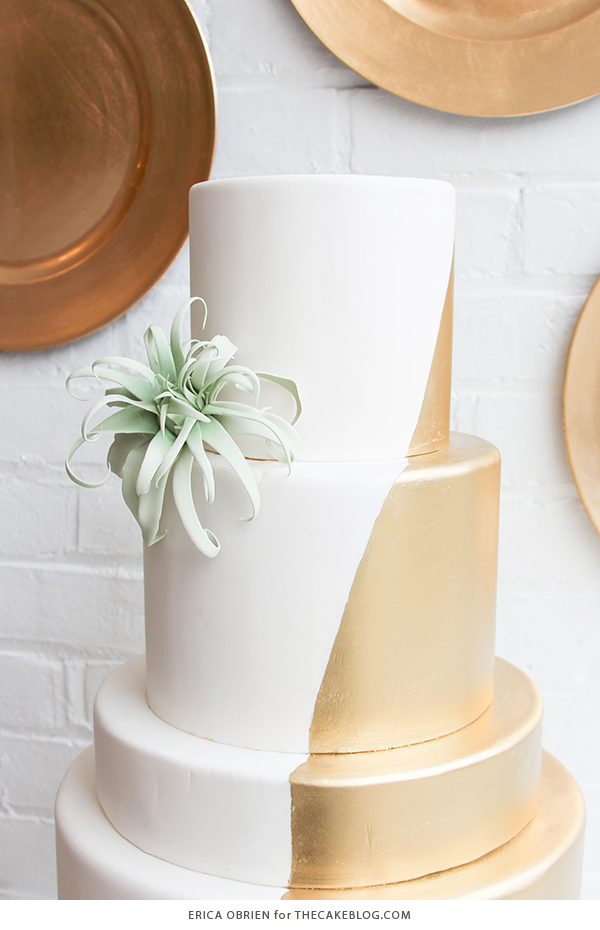 Gold dipped wedding cake | by Erica OBrien for TheCakeBlog.com