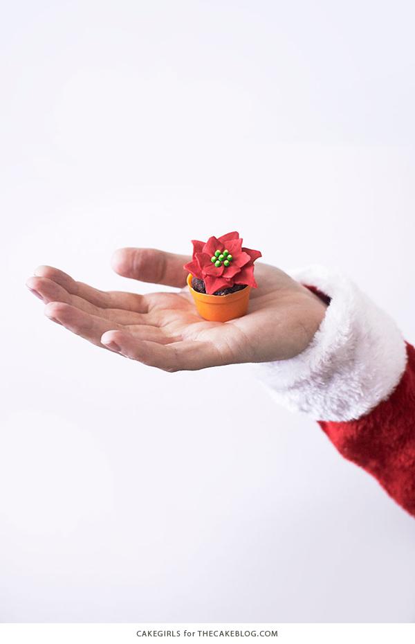 Mini Poinsettia Cakes - festive holiday desserts you can make for Christmas | Cakegirls for TheCakeBlog.com