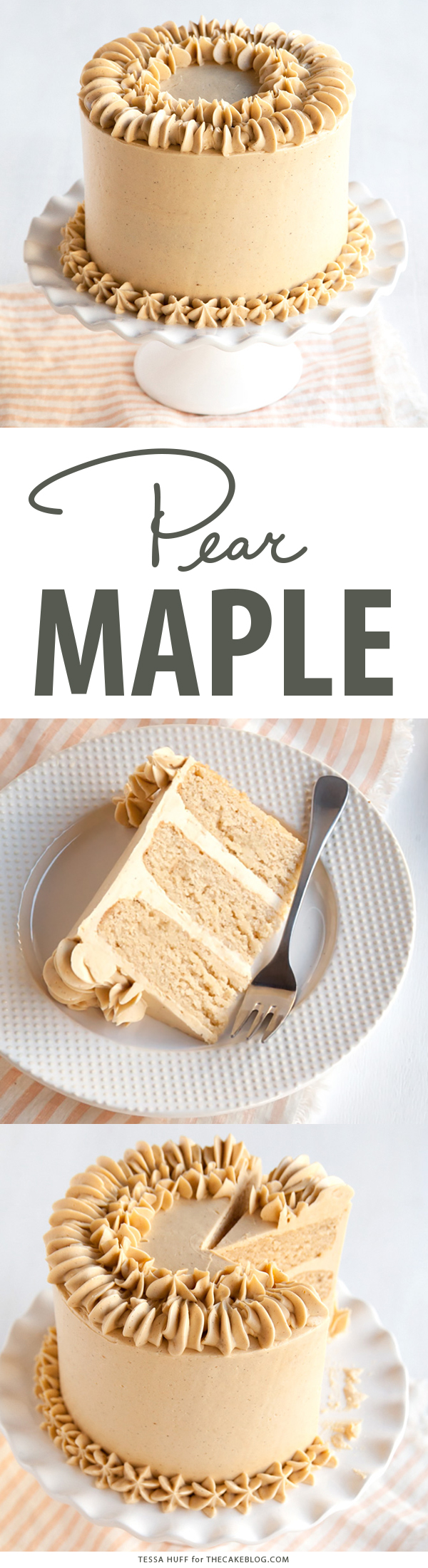 Maple Pear Cake recipe with Maple Spice Frosting | Tessa Huff for TheCakeBlog.com