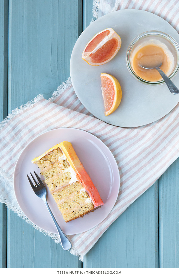 Pink Grapefruit Cake. A light olive oil cake filled with grapefruit curd and frosted with whipped vanilla buttercream - perfect for spring brunches, showers and birthdays | by Tessa Huff for TheCakeBlog.com