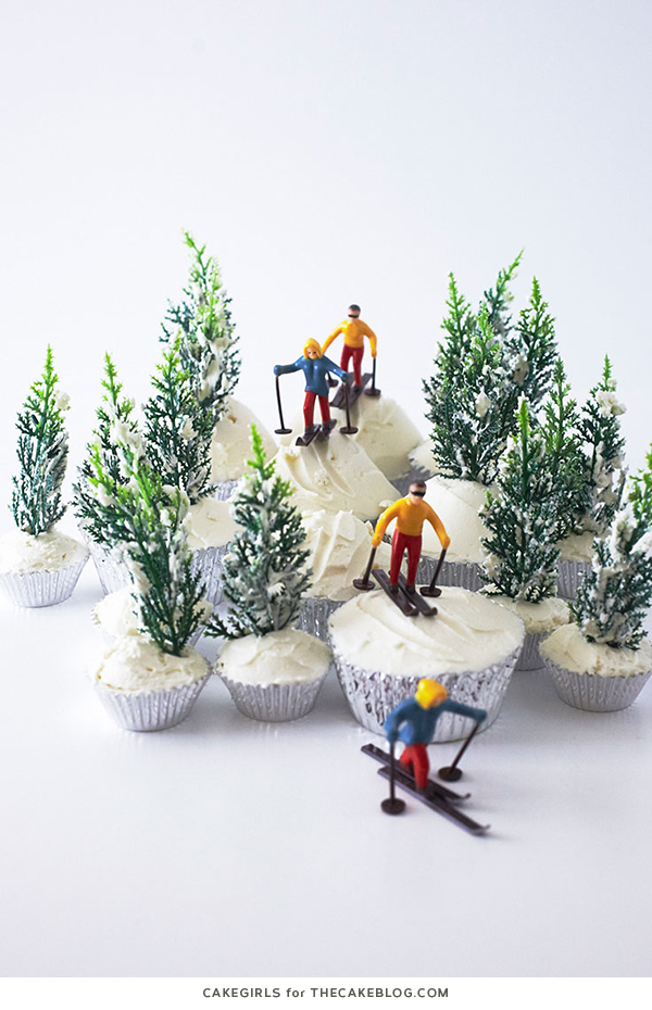 Ski Scene Cupcakes are a wintry dessert that's super easy to create at home for winter birthdays and snow themed parties. By Cakegirls for TheCakeBlog.com