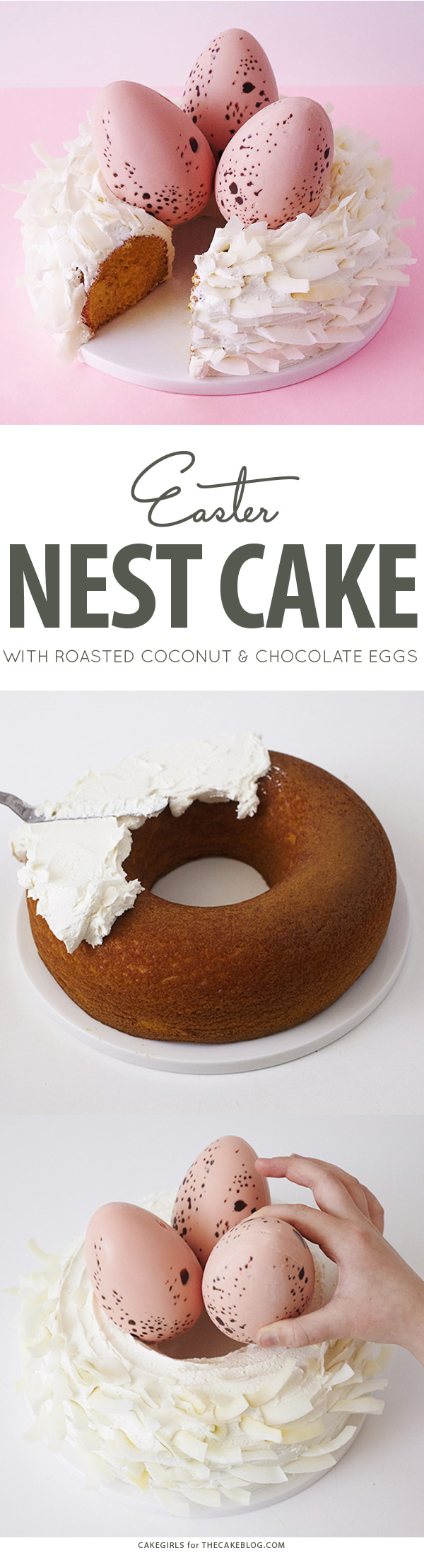 Easter Nest Cake - how to make a nest cake with roasted coconut and chocolate eggs for Easter dessert | by Cakegirls for TheCakeBlog.com