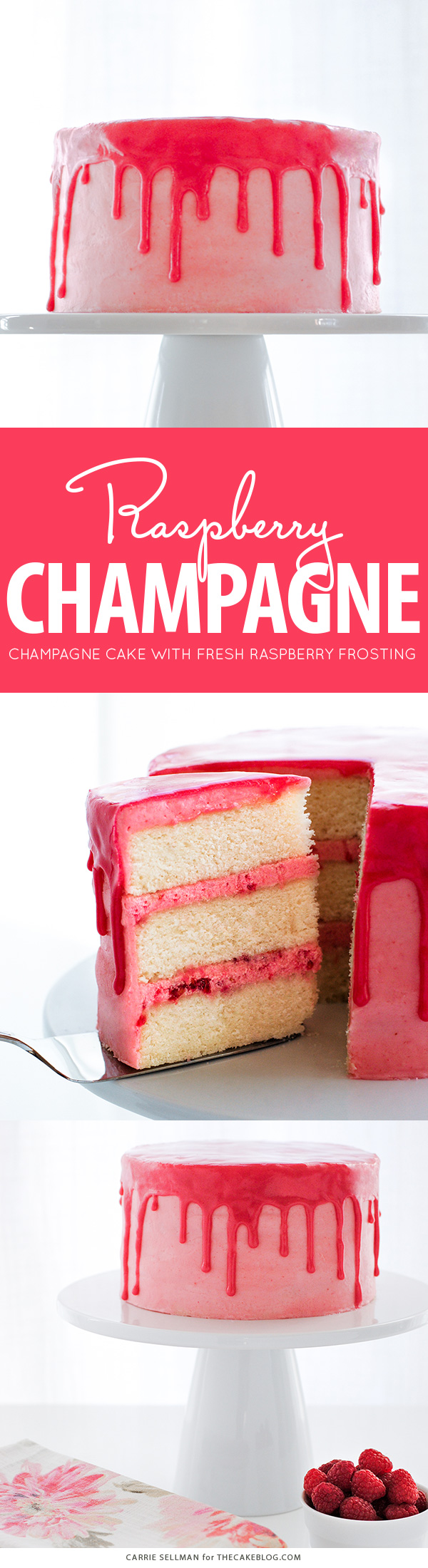 Champagne, berries and cream come together in this delicious Raspberry Champagne Cake.  Served with a drippy raspberry glaze and fresh raspberries.  By Carrie Sellman for TheCakeBlog.com.