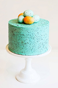 DIY Speckled Egg Cake | by Carrie Sellman for TheCakeBlog.com