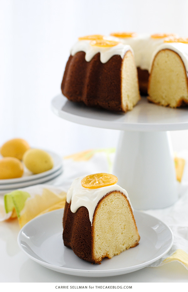 Candied Lemon Bundt Cake - lemon pound cake topped with lemon cream cheese frosting and candied lemon slices | By Carrie Sellman for TheCakeBlog.com