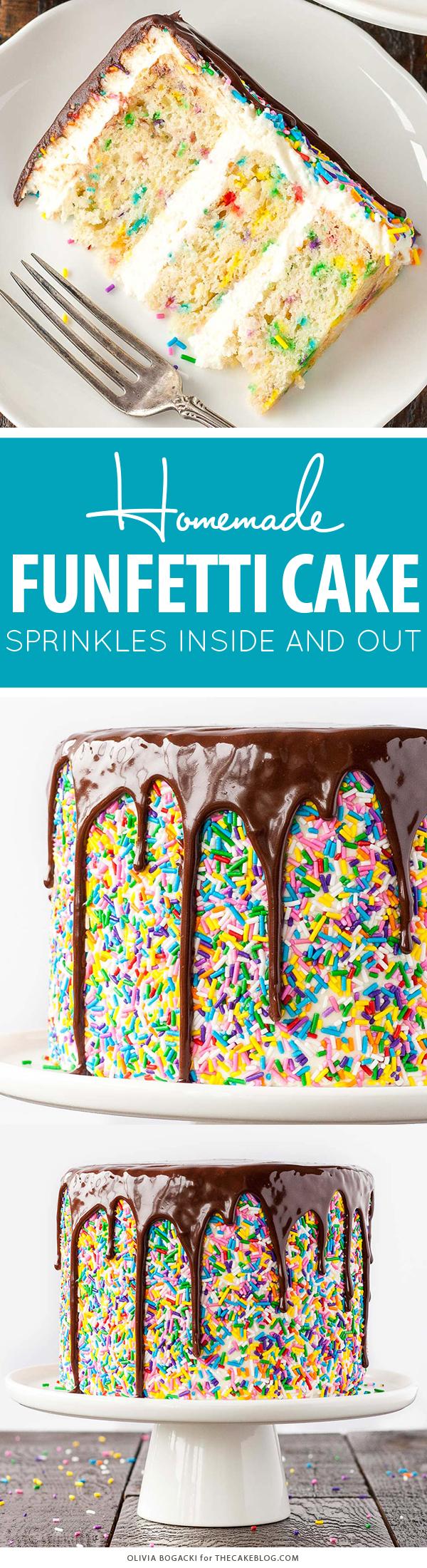 Funfetti Cake - homemade funfetti layer cake recipe   by Olivia Bogacki for TheCakeBlog.com #cake #funfetti #birthday #sprinkles