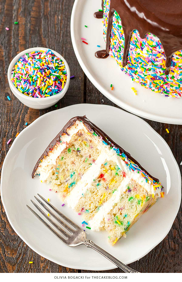 Funfetti Cake - homemade funfetti layer cake recipe | by Olivia Bogacki for TheCakeBlog.com #cake #funfetti #birthday #sprinkles