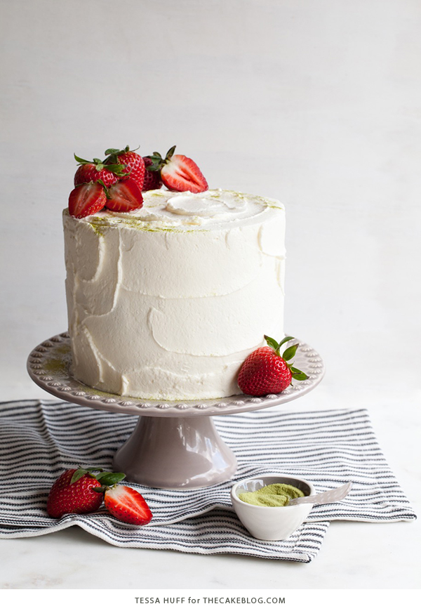 Matcha Strawberry Cake | by Tessa Huff for TheCakeBlog.com