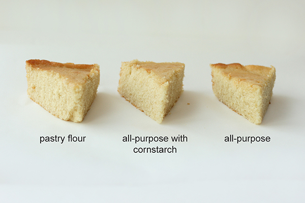 Flour Comparison - side by side comparison of all-purpose, cake flour, pastry flour, bleached and unbleached for cake baking| by Summer Stone for TheCakeBlog.com