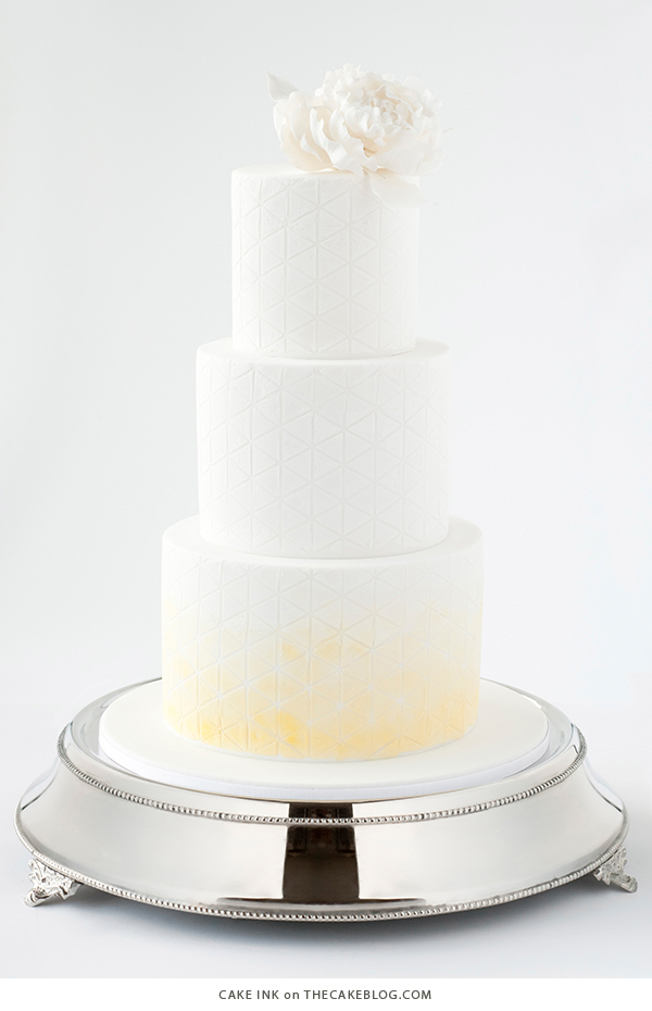 10 Yellow Wedding Cakes | including this design by Cake Ink | on TheCakeBlog.com